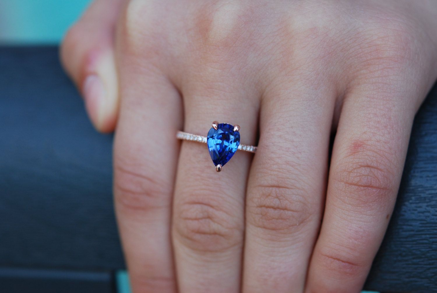 Blue sapphire pear engagement ring sapphire engagement ring