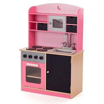 BABY VIVO Kinderküche Spielküche Aus Holz Kinderspielküche Küche Holzküche  Spielzeugküche Mit Tafel