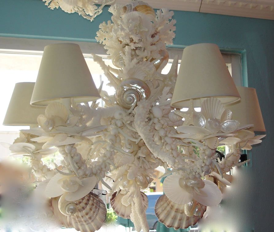 Shell encrusted chandelier sea shell mirrors pinterest shell encrusted chandelier aloadofball Images