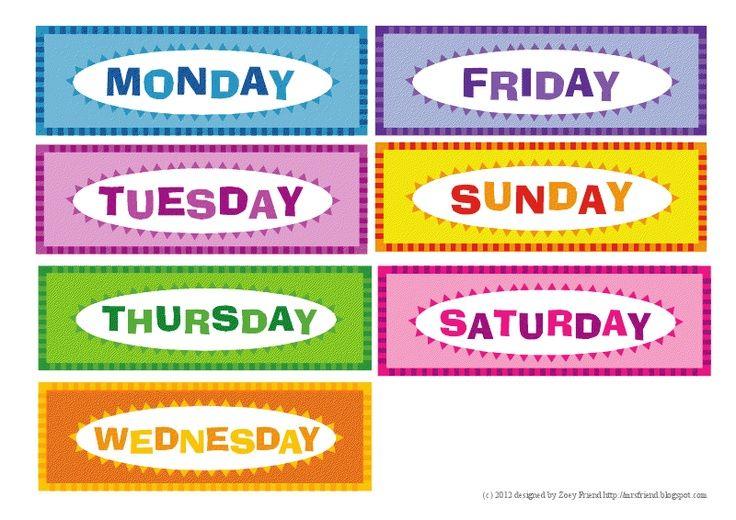 Days Of Week For Daycare Kids School Kids Education Preschool Classroom