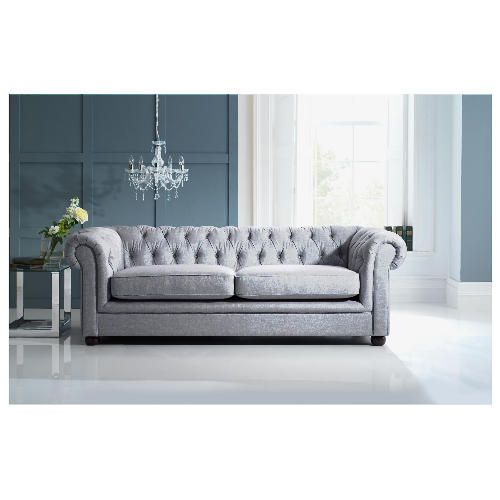 Chesterfield linen medium sofa silver from tesco direct - Chesterfield sofa living room ideas ...