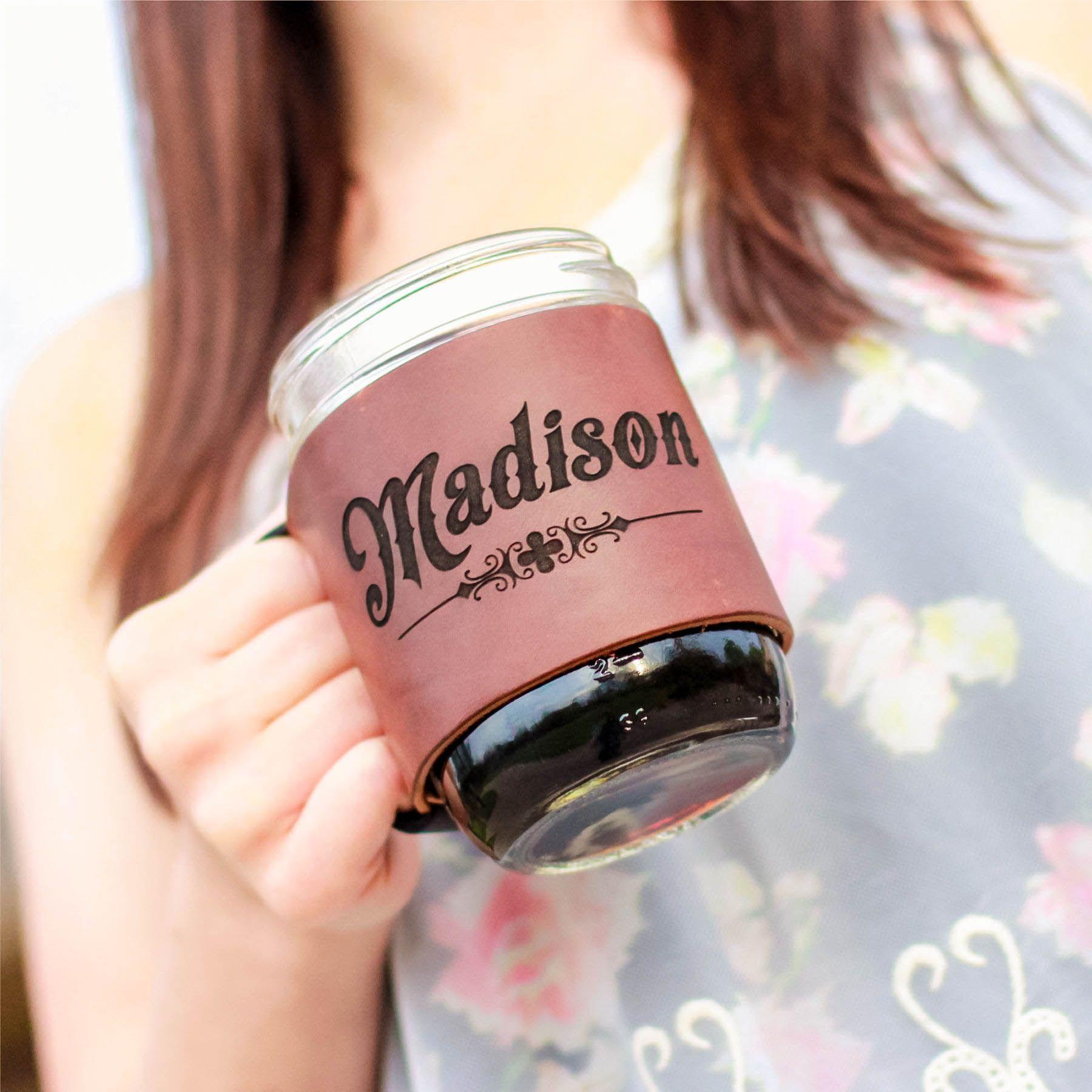 The Bootlegger Custom Mason Jar Leather Jar Wrap | Leather Gifts for ...