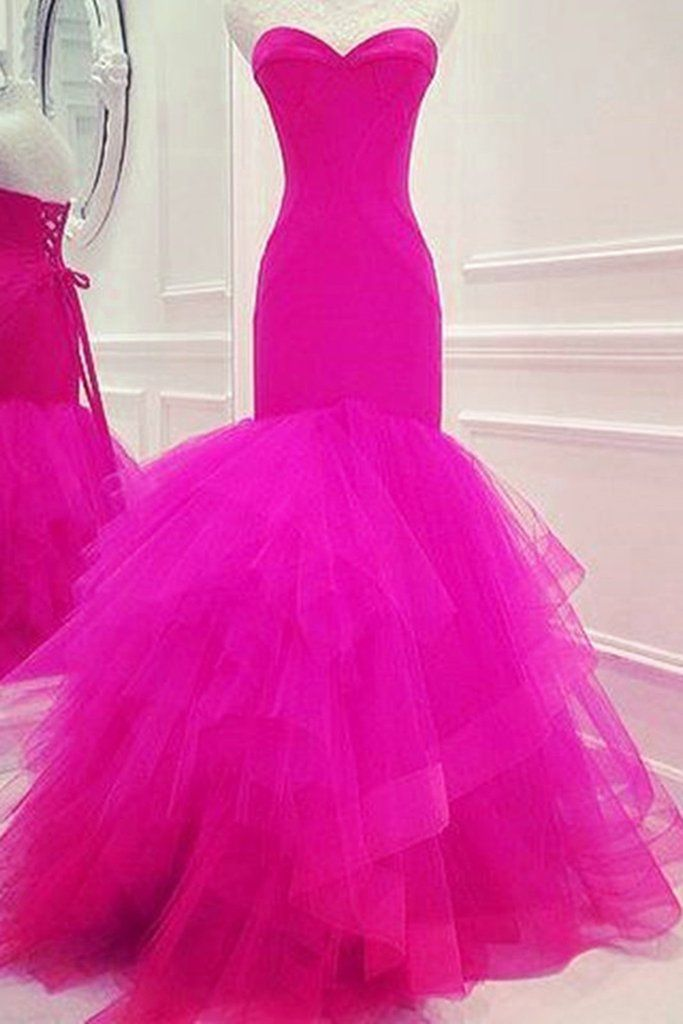 Rosy organza sweetheart mermaid long prom dresses for teens ,evening ...