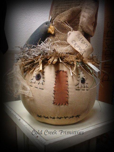 Primitive Scarecrow Head with Crow di ColdCreekPrimitives su Etsy