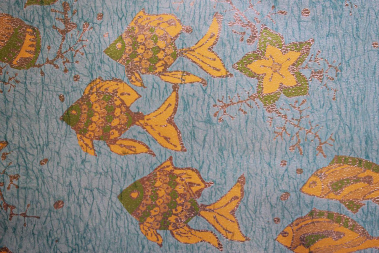 1970s Vintage Wallpaper Fish on Foil Vintage wallpaper