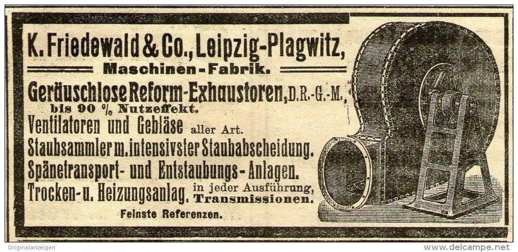 Original-Werbung/ Anzeige 1910 - REFORM-EXHAUSTOREN / FRIEDEWALD / LEIPZIG - PLAGWITZ - ca. 100 x 45 mm