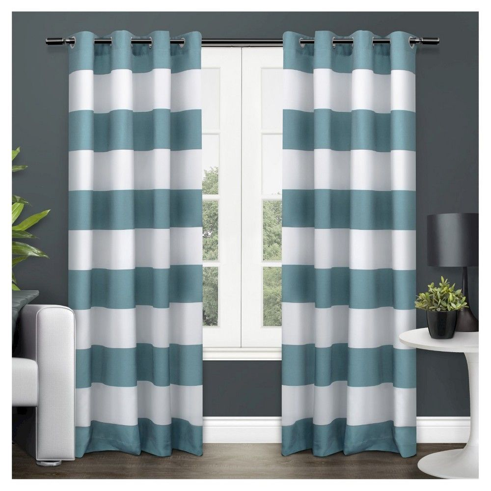 "Set of 2 / Pair Surfside Cotton Cabana Stripe Grommet Top Window Curtain Panels Teal (Blue) (54""x84"") Exclusive Home"