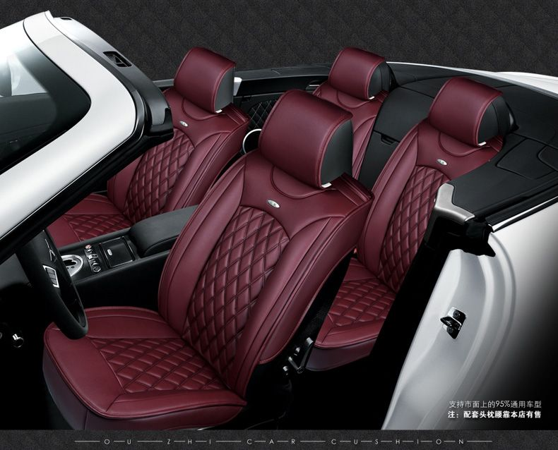 Luxury Red Black Waterproof Firm Diamond Pu Leather Car Seat Covers Easy Clean Frontrear Full