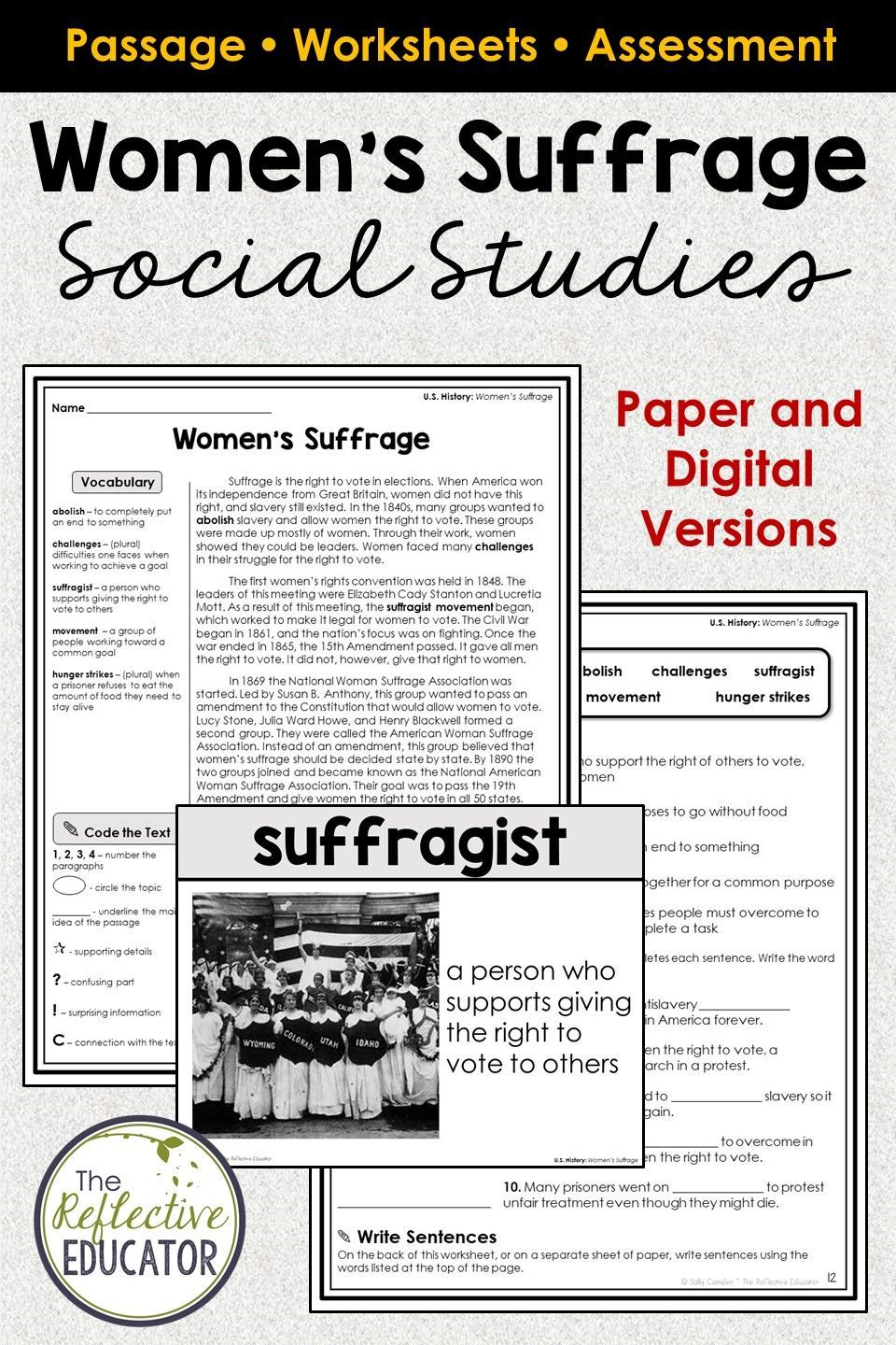 Women's Suffrage   Suffrage Movement   Elementary social studies lessons [ 1440 x 960 Pixel ]