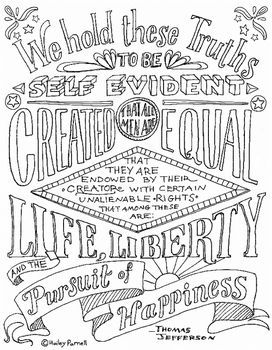Declaration Of Independence Coloring Page Typographie Pinterest