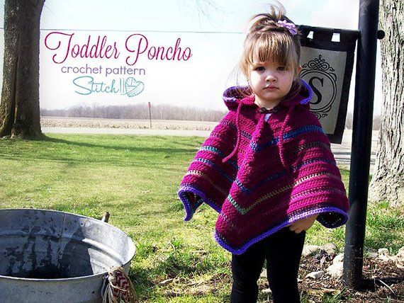 Toddler Poncho Crochet Pattern | Crochet Poncho Pattern | Crochet Hooded Poncho Pattern | Crochet Poncho | Crochet Pattern | PDF Download