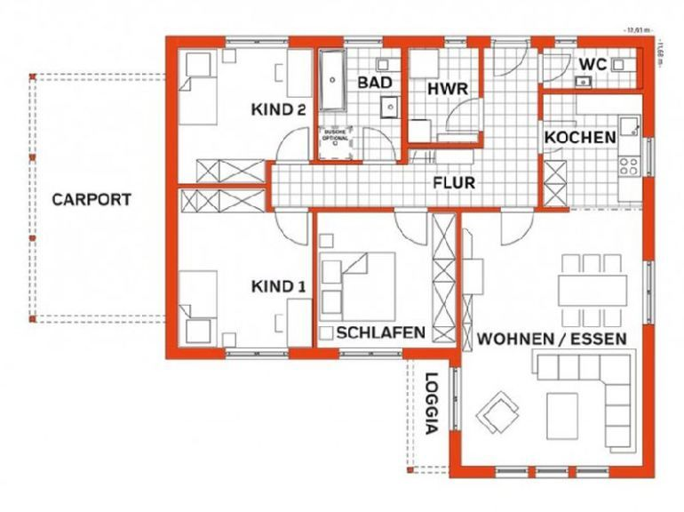 Hauspläne l-form  Model casa LIFE 110L Walmdach, Suprafata 108 mp, 3 camere, Proiect ...