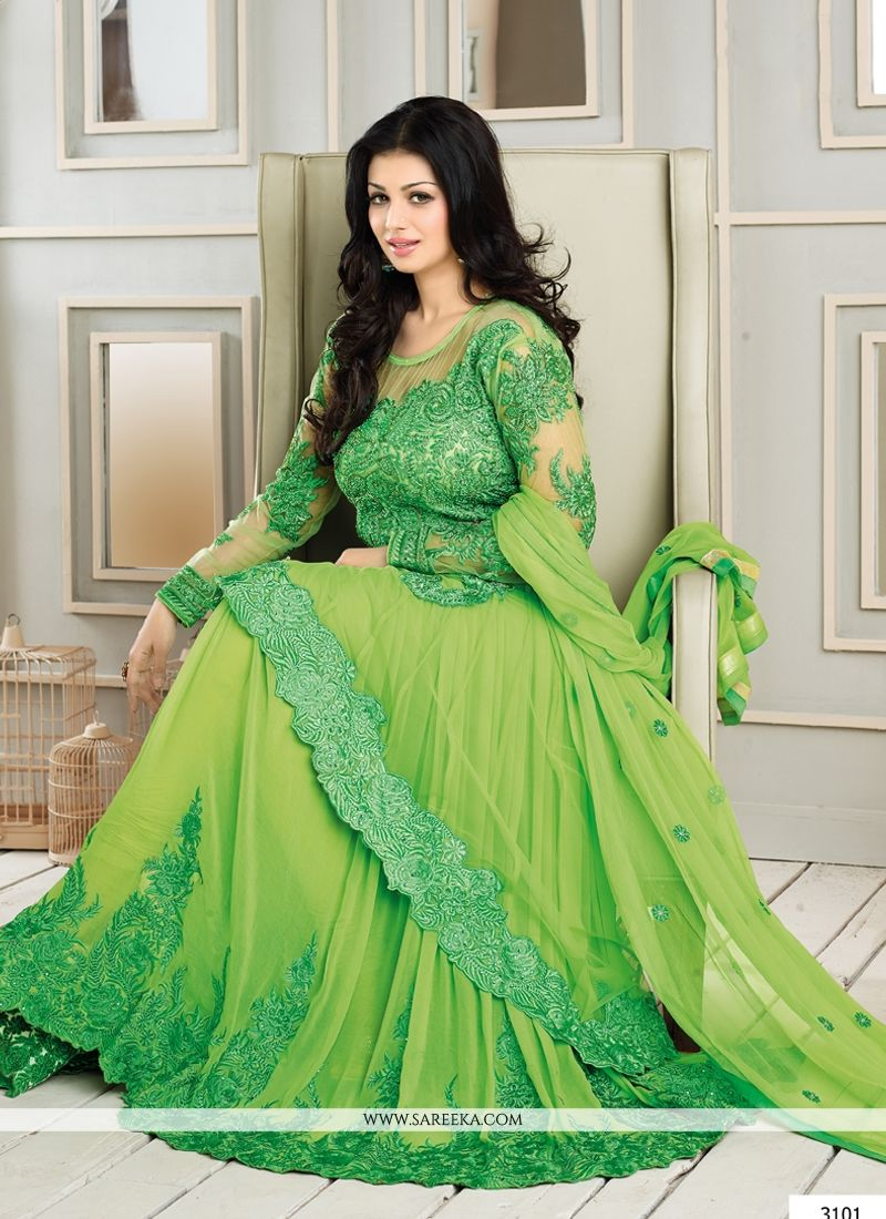 6dbb1de3f3 Ayesha takia green resham georgette anarkali suit lining designed with  embroidery, lace, zari, and patch border work. Available with matching  churidar ...