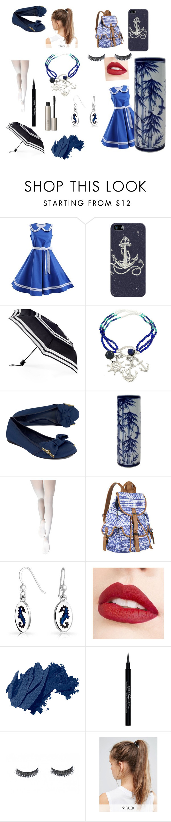 """""""Sailor outfit"""" by crowraventeen ❤ liked on Polyvore featuring Casetify, ShedRain, Tory Burch, Capezio Dance, Bling Jewelry, Jouer, Bobbi Brown Cosmetics, Givenchy, NIKE and Ilia"""
