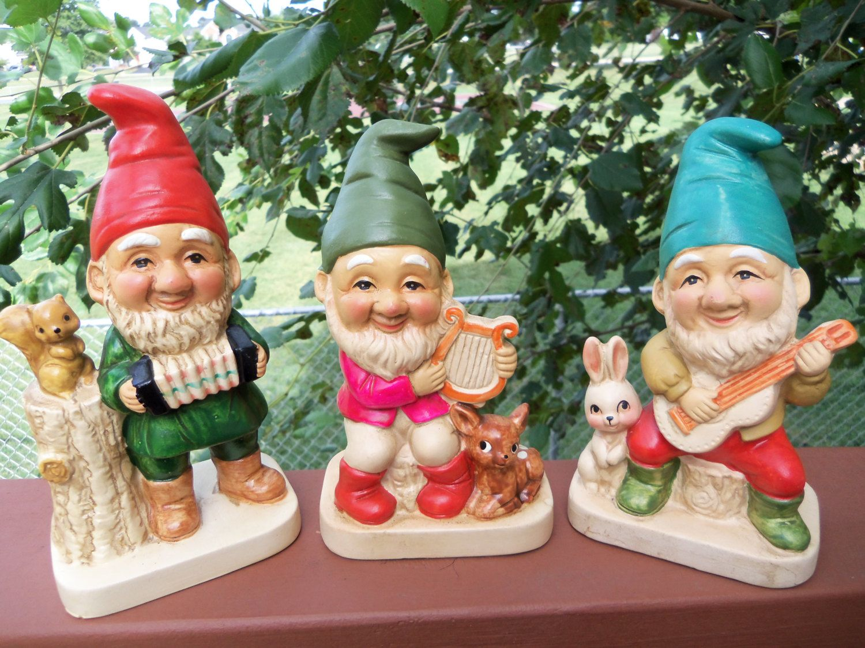 Vintage Ceramic Porcelain Elf Gnome Musician Figurines By Homco Marked 5201 Vintage Ceramic Etsy Vintage Handmade