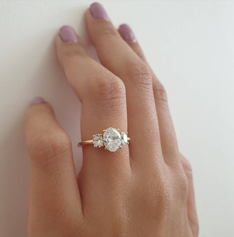 Oval Diamond Engagement Ring, 1.40 Carats with Baby Oval Shape Side Stones and Hidden Halo, 14k Yellow Gold Diamond Ring, Engagement Ring - Oval engagement ring - #14K #Baby #Carats #Diamond #Engagement #gold #Halo #Hidden #Oval #Ovalengagementring #Ring #Shape #Side #Stones #Yellow