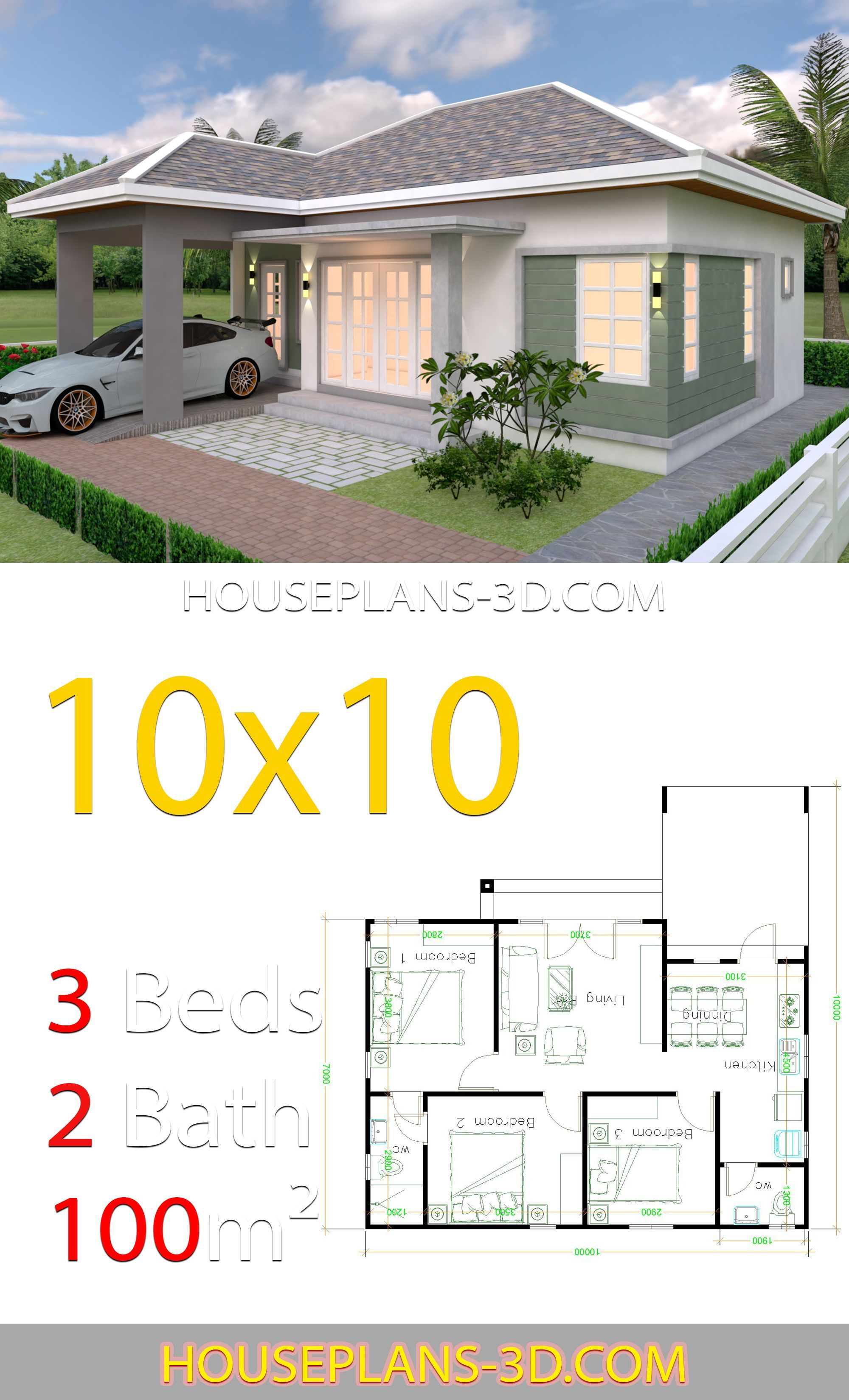House Design 10x10 With 3 Bedrooms Hip Roof House Plans 3d House Fence Design Bungalow House Plans House Roof