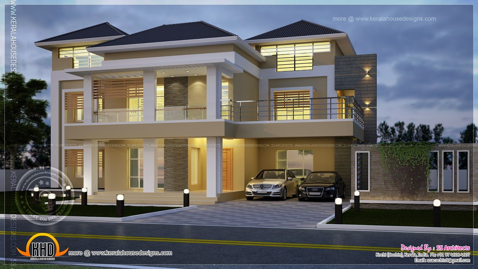 Modern villa night view elevation indian house plans for Villa design plan india