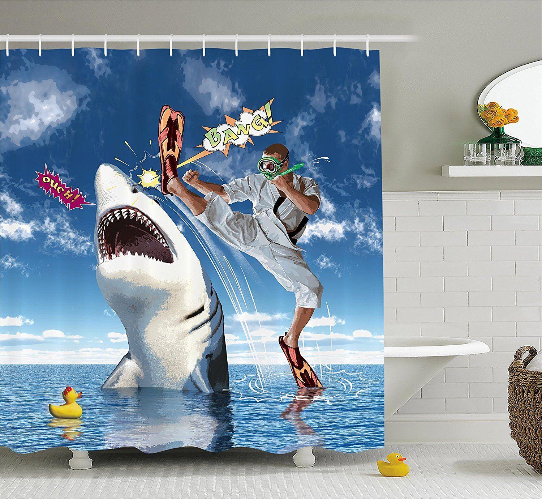 Great White Shark Smiling Shower Curtain Set Bathroom Waterproof Fabric /& Hooks