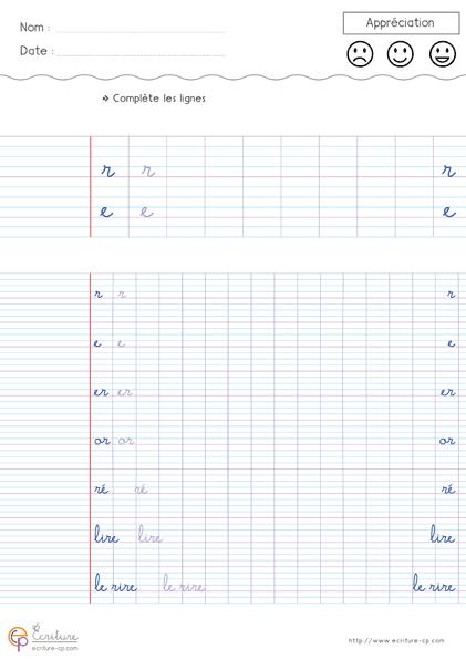 Célèbre Feuille Fiche PDF Exercice d'écriture cursive cp à imprimer  DA88