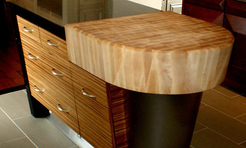 Maple Wood Butcherblock Countertop 8 1 2 Inch Thick With Arc And Bevel Cut Edge