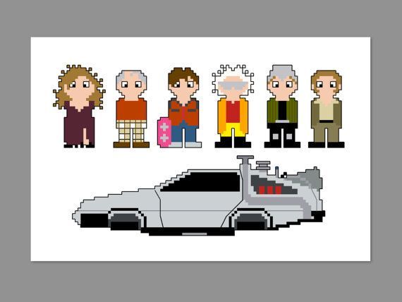 Back to the Future 2 Pixel People Character Cross Stitch PDF PATTERN ONLY