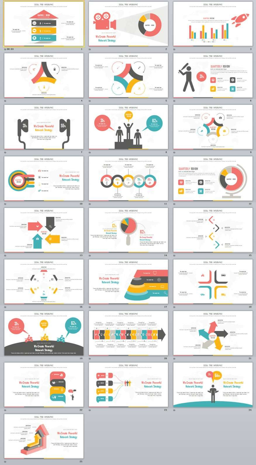 25 best infographic presentation powerpoint template グラフ