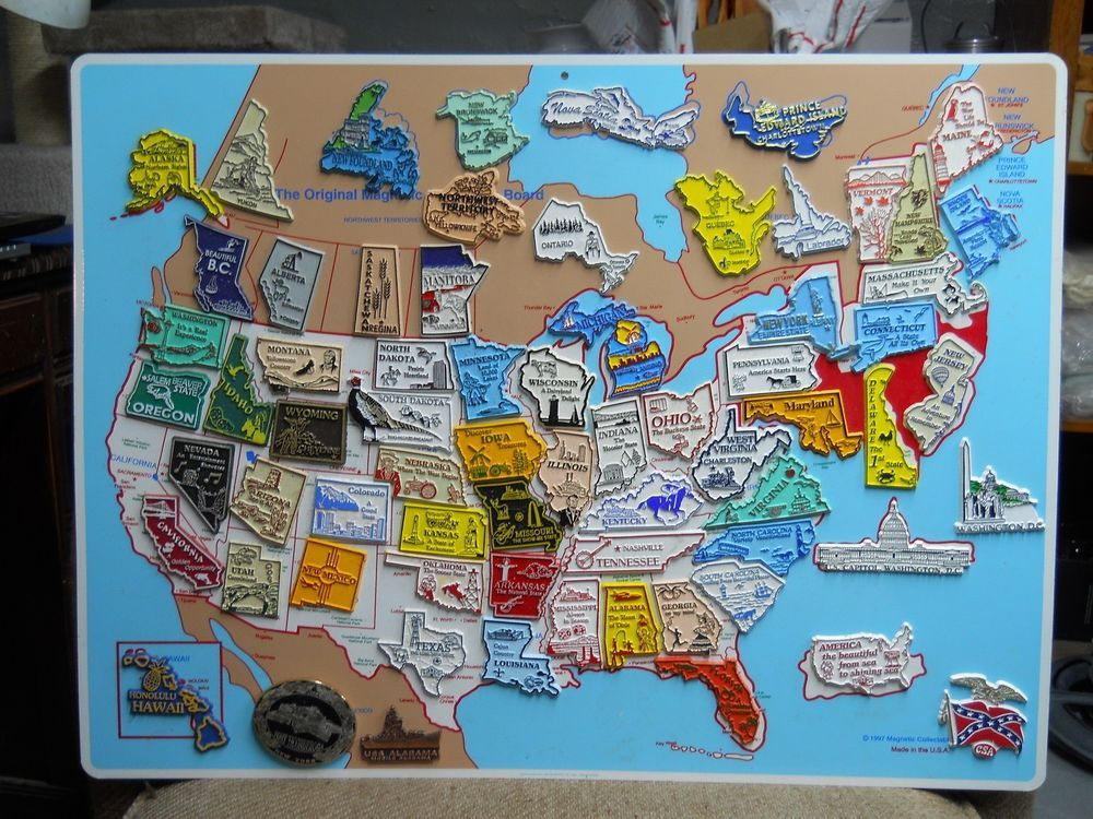 1997 The Original Magnetic Collectors Board Map w 50 States