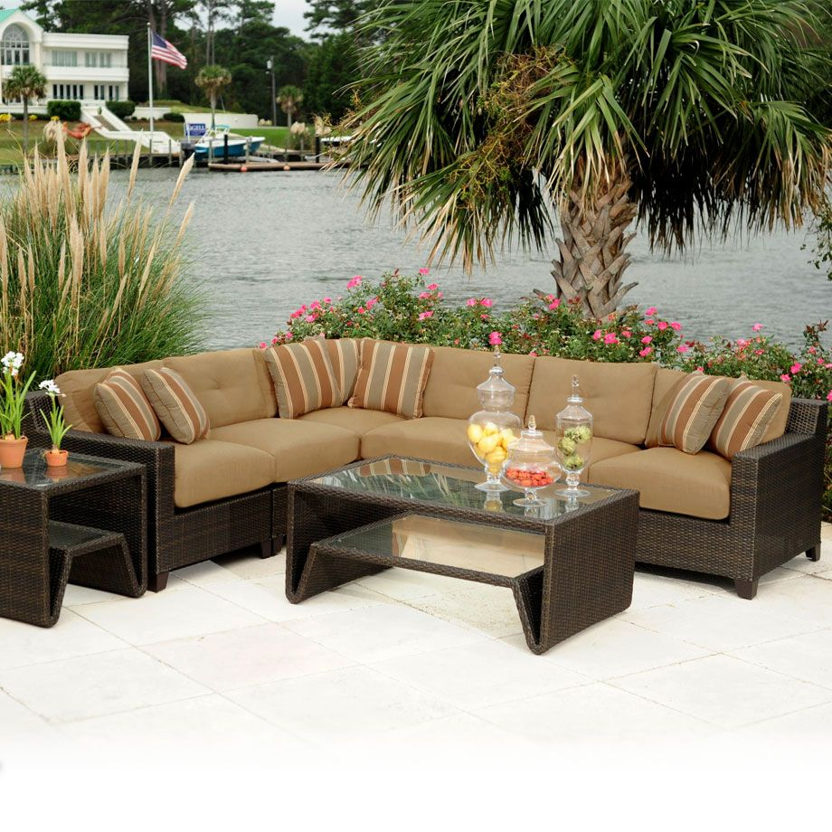 patio stunning outdoor conversation set patio wicker furniture l shaped sectional sofa rattan resin furniture rectangular