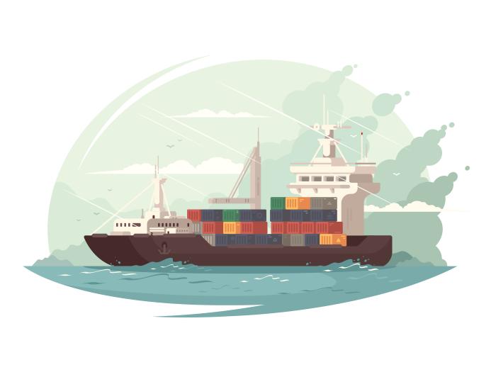 Container Ship In Sea Illustration Cargo Ship Illustration Illustration Sea Illustration