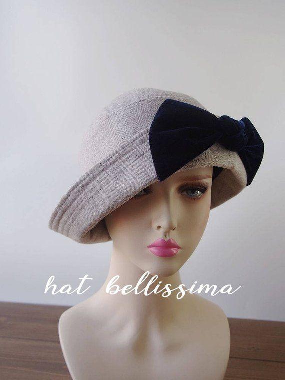 fcd11612dec SALE gray 1920 s Hat Vintage Style hat winter Hats hatbellissima ladies  hats millinery wool hats