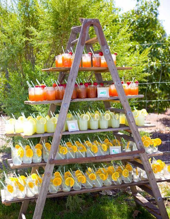 Zomer bruiloft drankje station, citroensap, outdoor bruiloft receptie ideeën, gar …