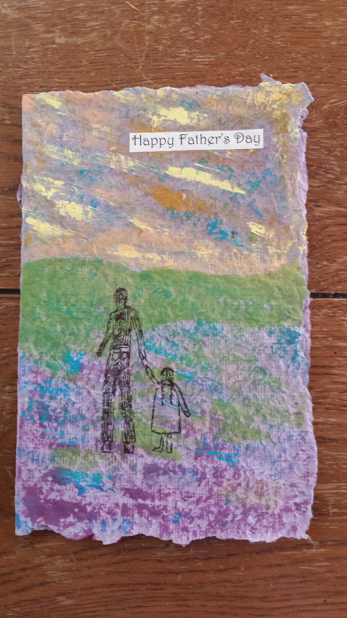 Handmade Paper Greeting Card Recycle Upcycle Fathers Day