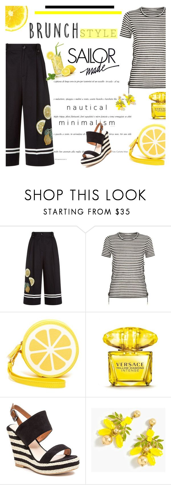 """Mother's Day Brunch Goals"" by lacas ❤ liked on Polyvore featuring Dolce&Gabbana, Maje, Shiraleah, Versace, French Blu, J.Crew and brunchgoals"