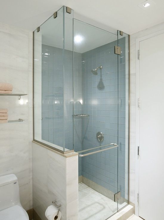 Small bathroom tiled corner shower design pictures for Small tiled showers
