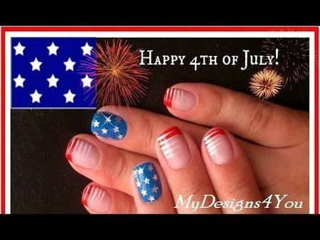 TUTORIAL - 4th OF JULY NAIL ART FOR SHORT NAILS! nailart #nails #mani #polish #redwhiteblue - For more nail looks or to share yours, go to bellashoot.com