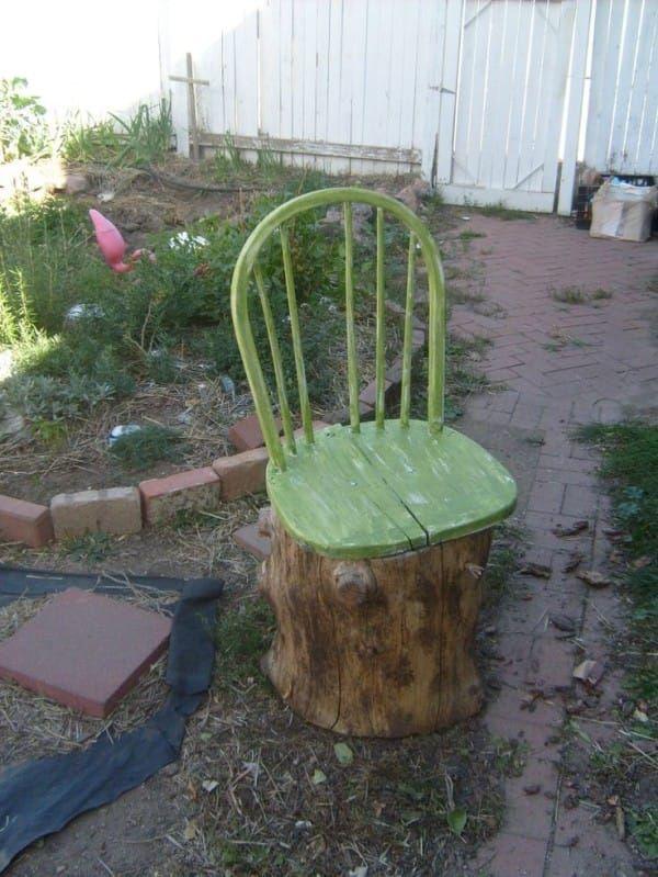 tree seats garden furniture. Old Broken Chair + Stump \u003d Garden - For When We Get Our Backyard Firepit Tree Seats Furniture