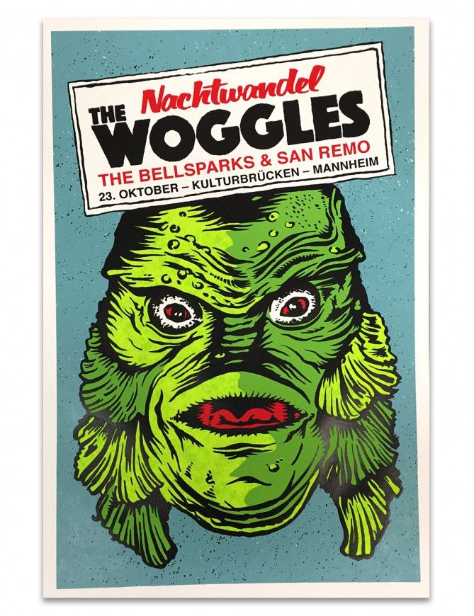 4-color screenprinted gigposter for The Woggles, The Bellsparx & San Remo in Mannheim