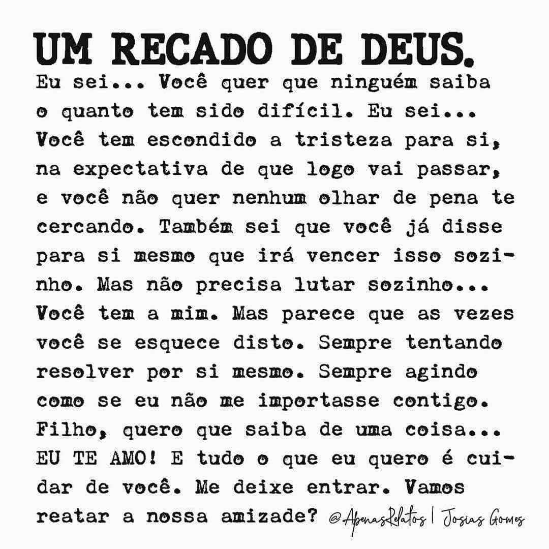 Frases Poesias E Afeto On Instagram Um Recado De Deus Eu Sei