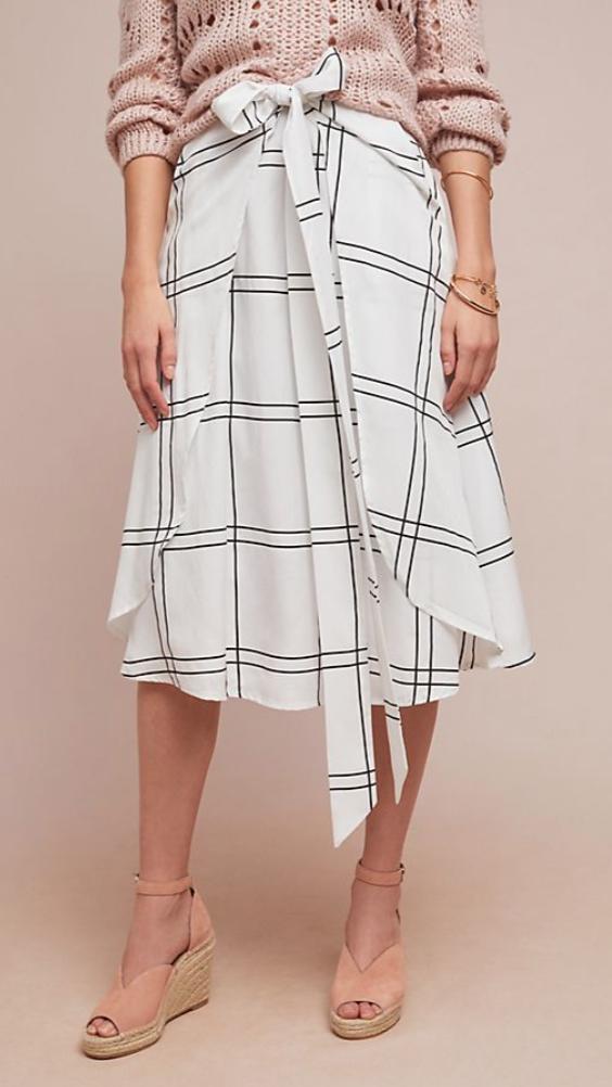 Photo of White Grid Midi Skirt