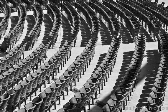 Black and White Stadium Seating Photography Print
