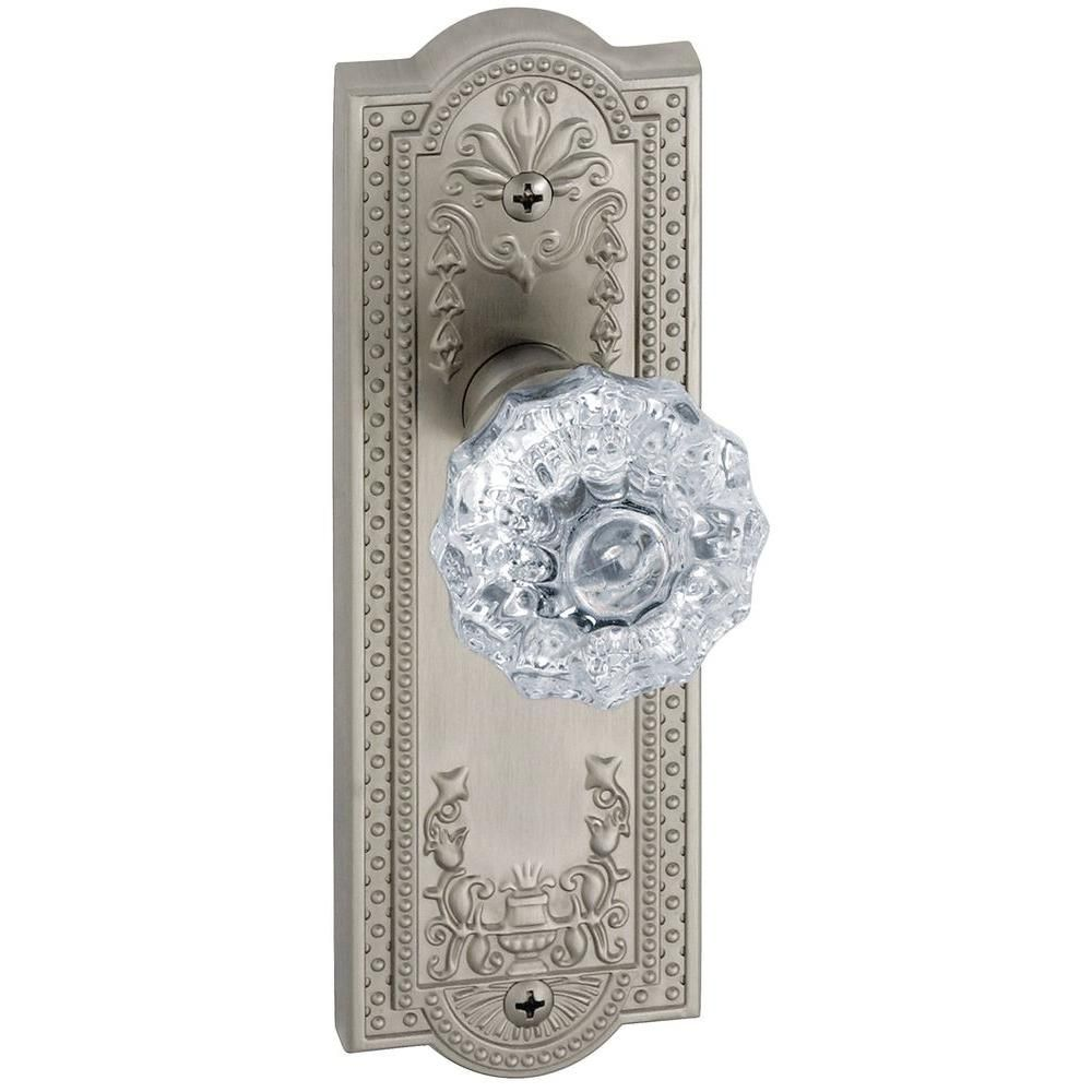 Parthenon Satin Nickel Plate with Double Dummy Fontainebleau Crystal Knob