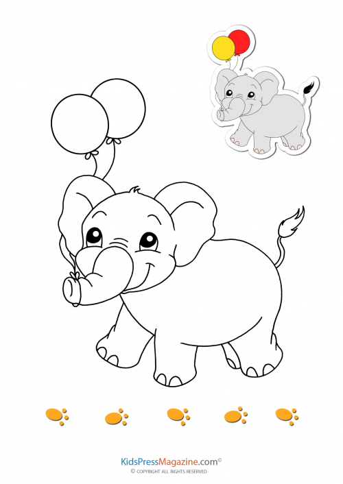 Match Up Coloring Pages – Elephant   #early #learning #kids #memory #concentration