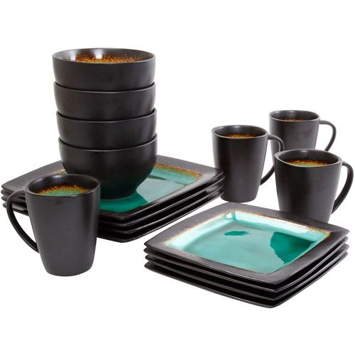 Gibson Home Ocean Oasis 16-Piece Dinnerware Set Turquoise - Walmart.com  sc 1 st  Pinterest : square turquoise dinnerware - pezcame.com