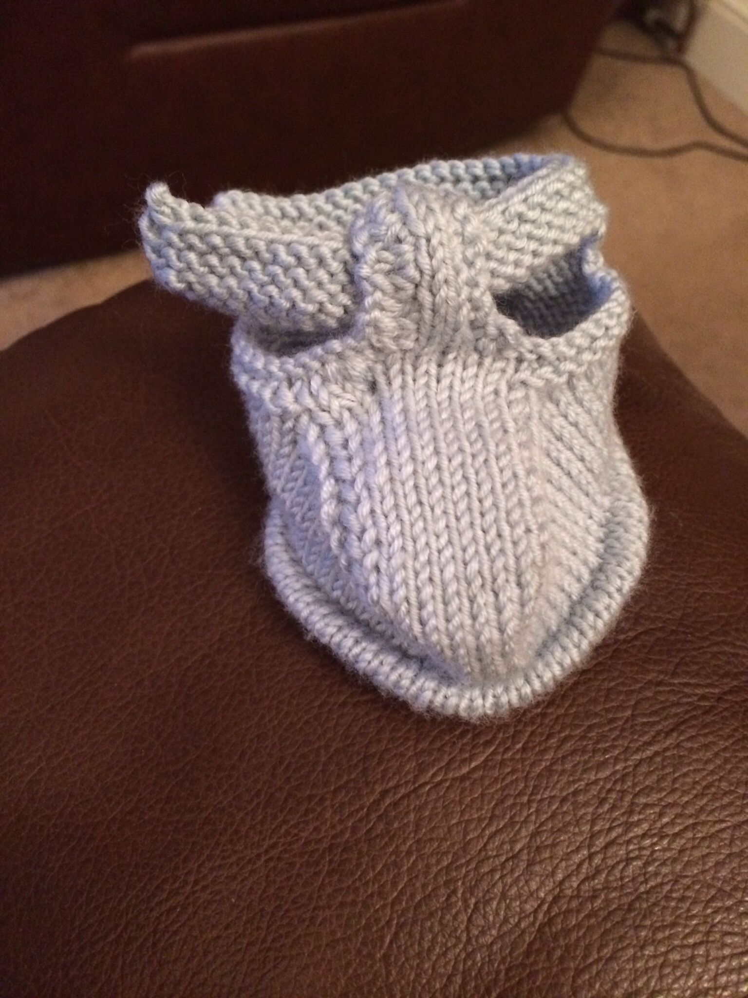 Baby sandal knitted from a Debbie Bliss pattern  | Made by Ms Knit n