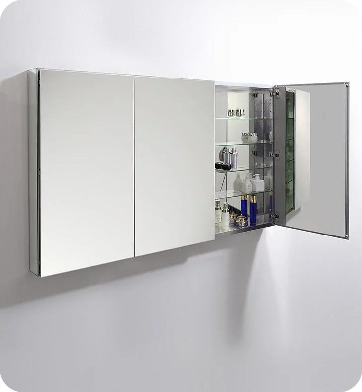 Fresca Fmc8020 59 Wide X 36 Tall Bathroom Medicine Cabinet With Mirrors In 2020 Bathroom Medicine Cabinet Adjustable Shelving Medicine Cabinet Mirror