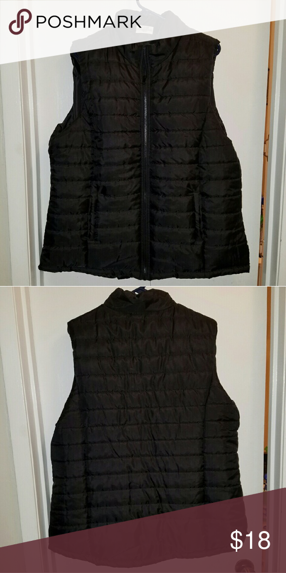 Quilted Puffy Vest -- + size Black quilted Puffy Vest, worn once. Excellent condition. Jackets & Coats Vests