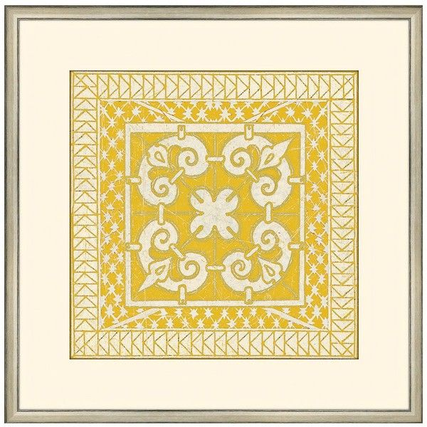"""Small Yellow Tile IV Framed 15"""" Square Wall Art - #Y4154 ($130) ❤ liked on Polyvore"""