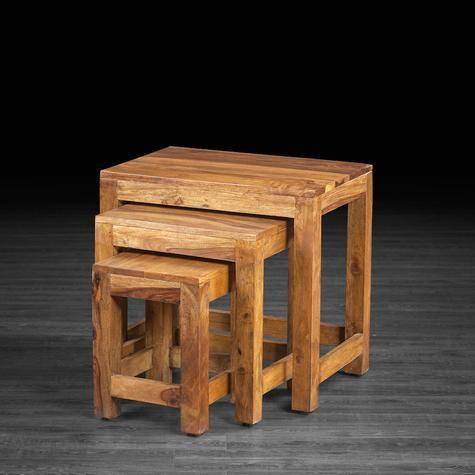 Table gigogne Gaya en bois de rose Table cuisine et salon Pinterest
