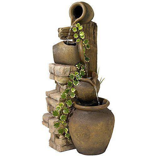 Outdoor Indoor Water Fountain Home Decor Decorations 33u0027u0027 Garden Patio  Waterfall
